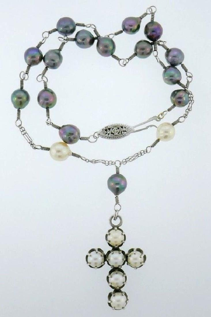 Sterling Silver Tahitian Pearl Cross Necklace - 3