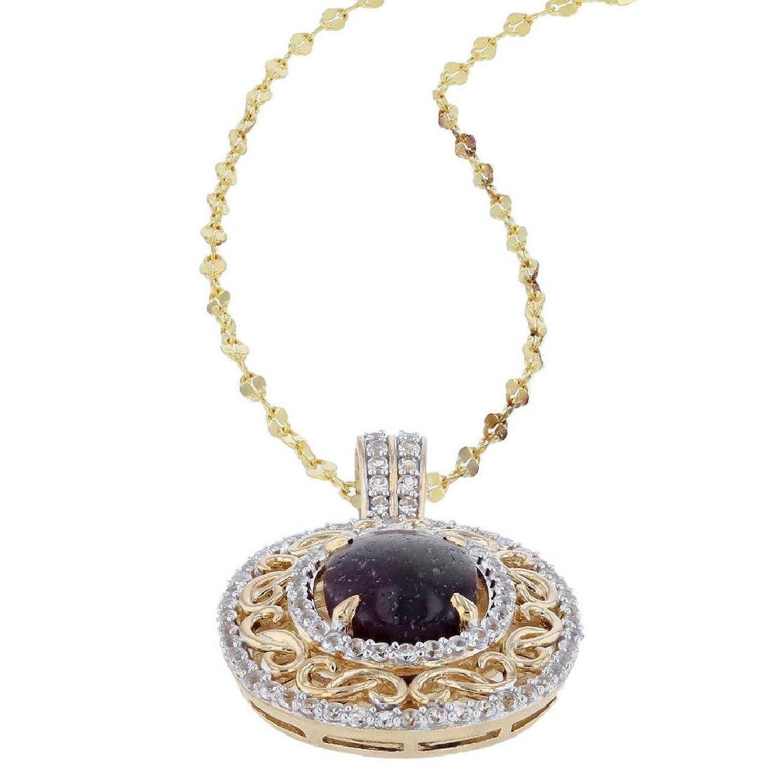 11.29ct Ruby and 1.55ctw White Sapphire Pendant - 2