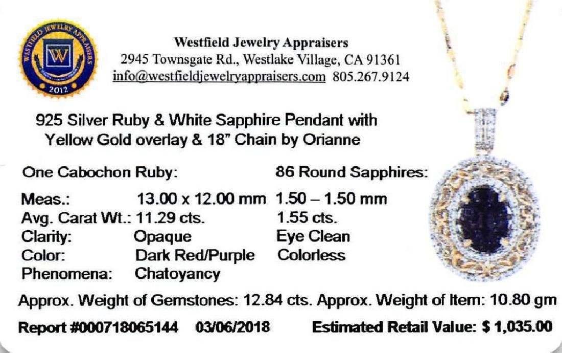 11.29ct Ruby and 1.55ctw White Sapphire Pendant - 3