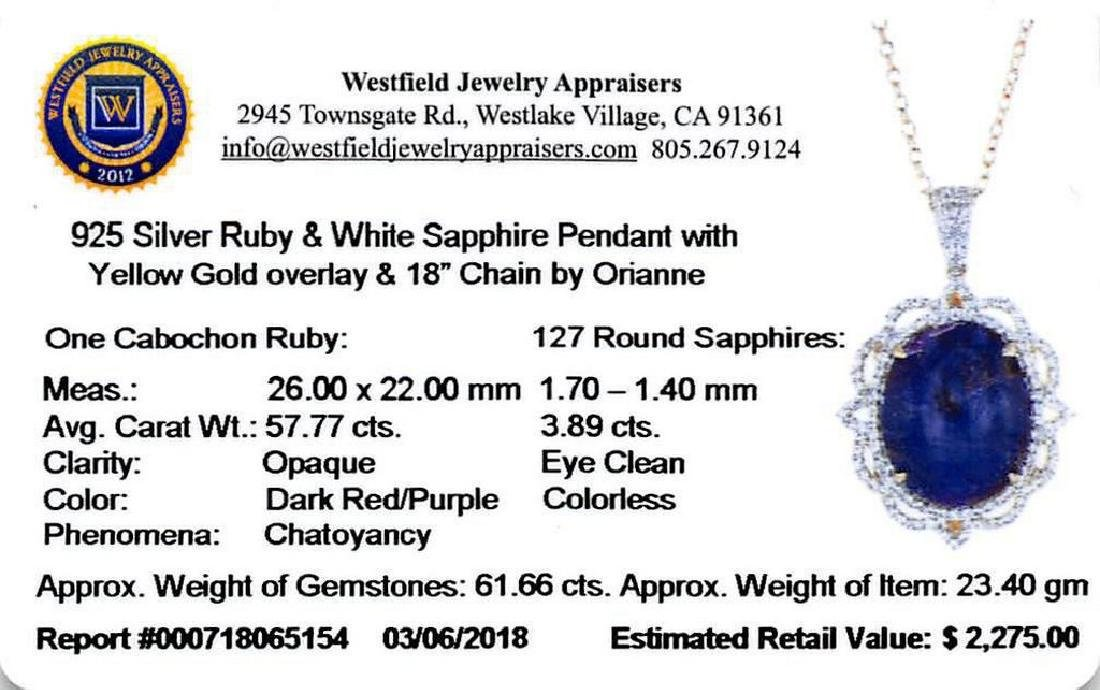 57.77ct Ruby and 3.89ctw White Sapphire Pendant - 3
