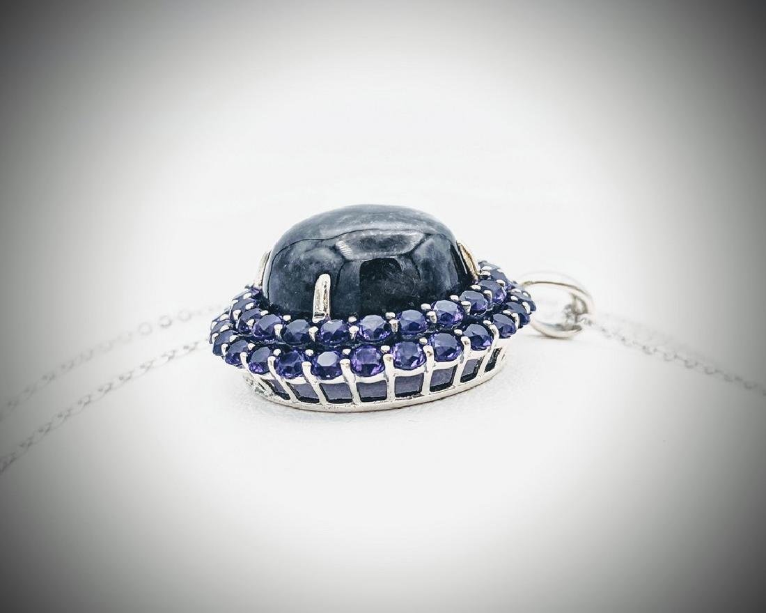 Sterling Silver Necklace w Nuumite & Amethyst Pendant - 2