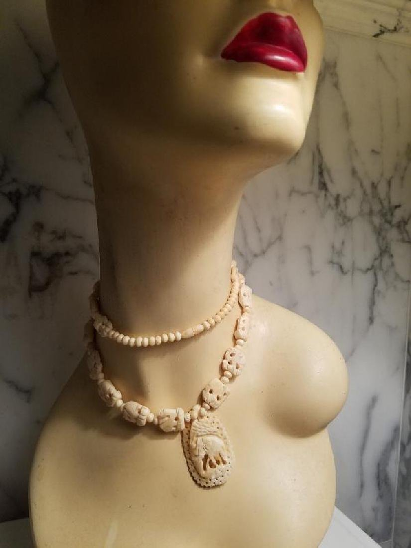 Vtg Hand carved Bovine Bone Necklace and Pendant