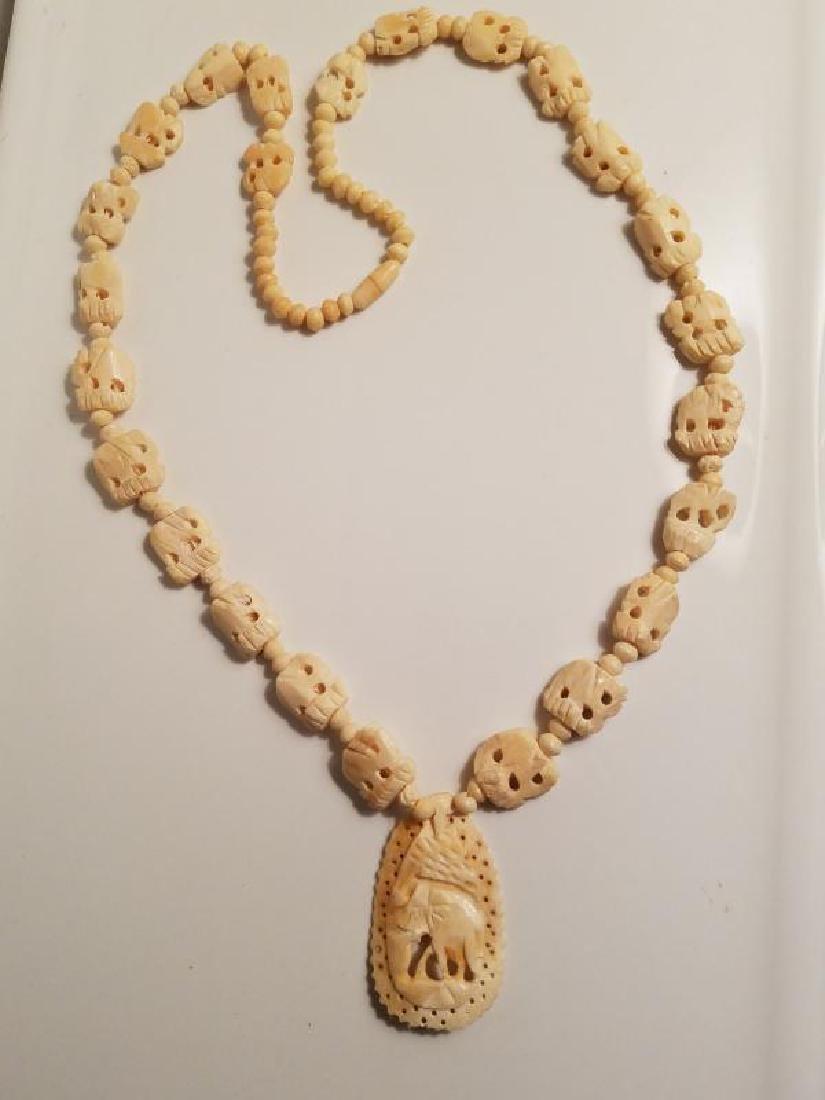 Vtg Hand carved Bovine Bone Necklace and Pendant - 9