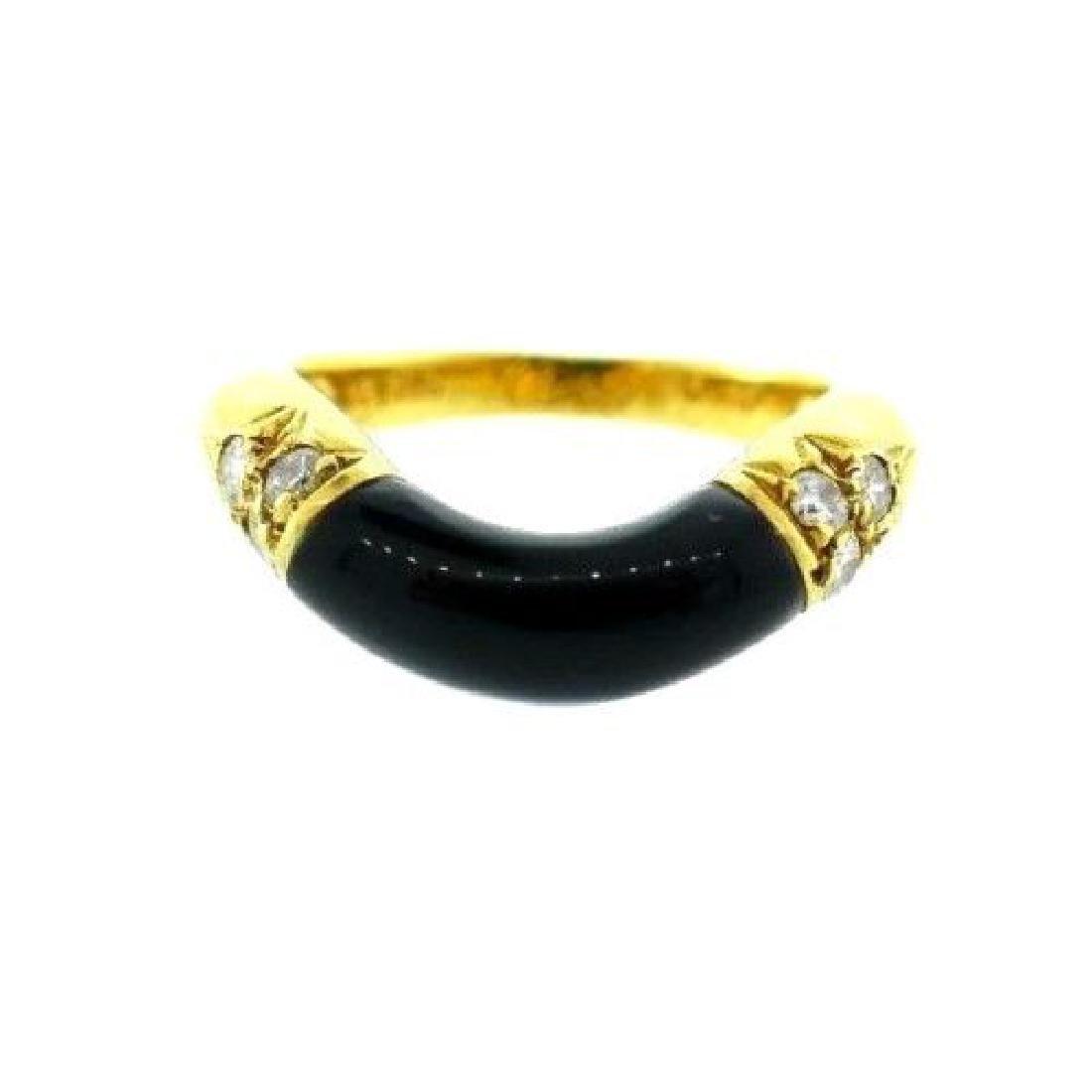 CARTIER 18k Yellow Gold Diamond & Onyx Band Ring - Feb 27