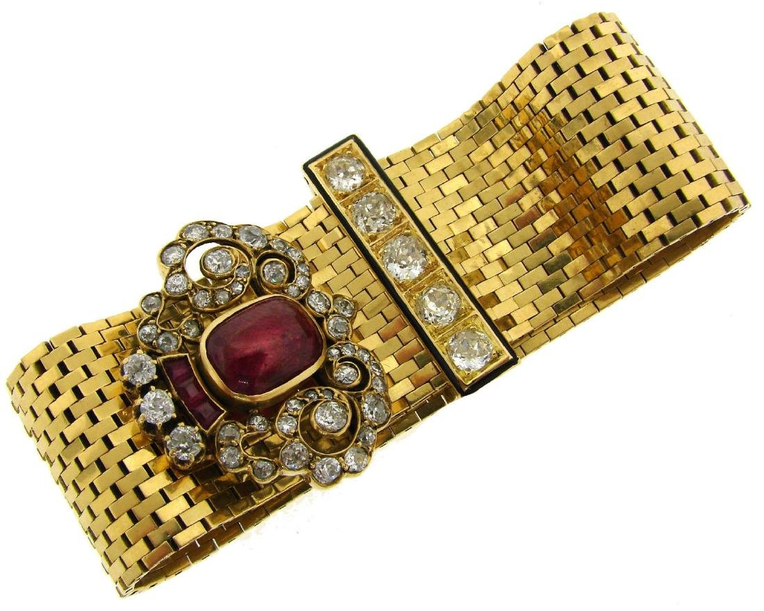 VAN CLEEF & ARPELS Ruby Diamond Enamel Yellow Gold LUDO