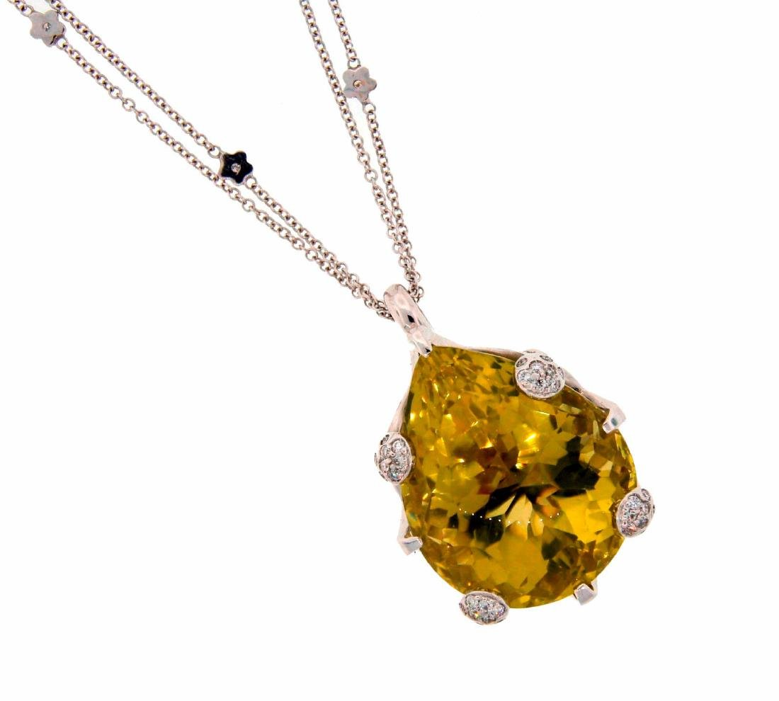 PASCUALE BRUNI Lemon Quartz Diamond White Gold PENDANT