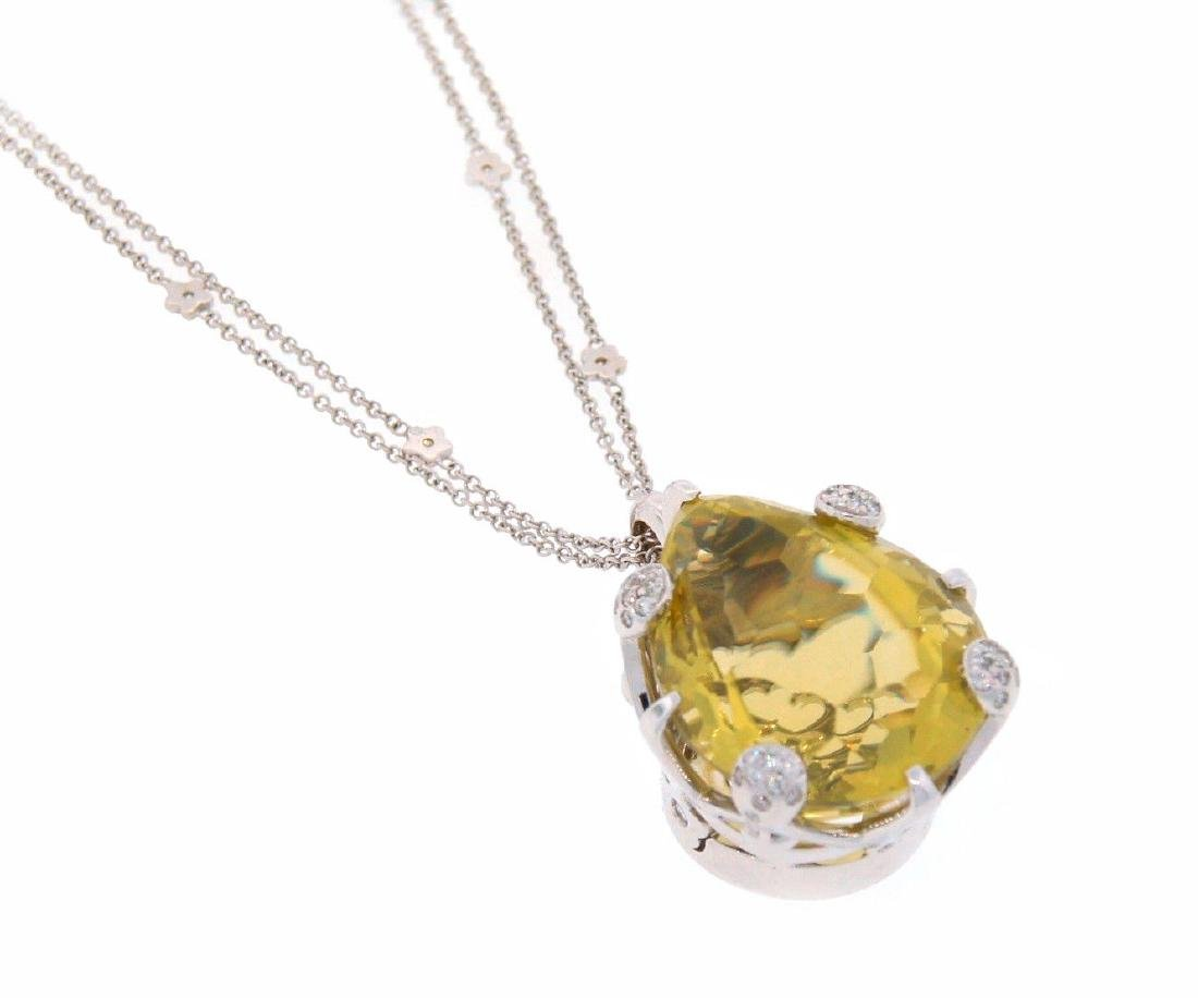 PASCUALE BRUNI Lemon Quartz Diamond White Gold PENDANT - 4