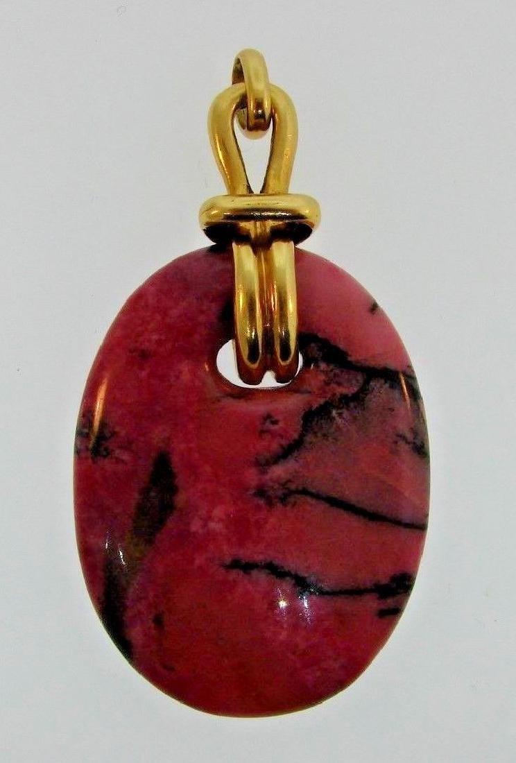 RARE Aldo Cipullo 18k Yellow Gold & Rhodonite Pendant
