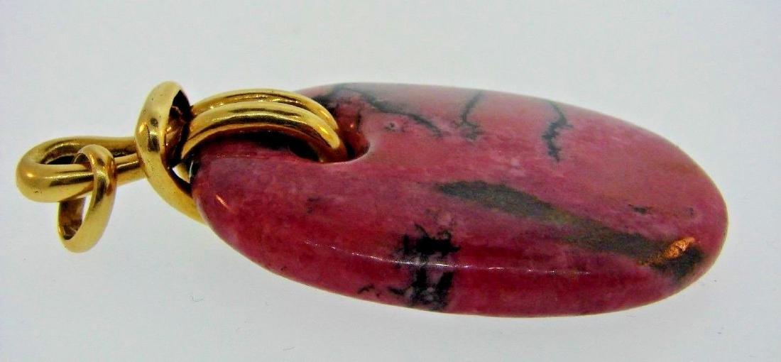RARE Aldo Cipullo 18k Yellow Gold & Rhodonite Pendant - 4