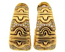 BULGARI Parentesi Diamond Yellow Gold EARRINGS Hoop