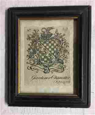 Paul Revere Rococco Armorial Bookplate Engraved for