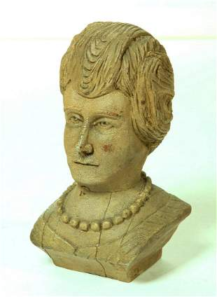 Fine Carved Bust Of A 19th. C.  Lady With Necklace