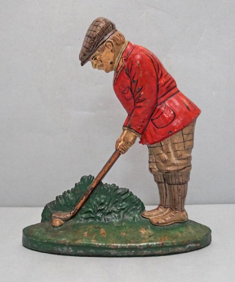 Putting Golfer Cast Iron Hubley Doorstop