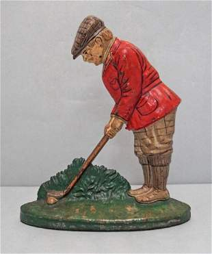 Putting Golfer Cast Iron Hubley Doorstop
