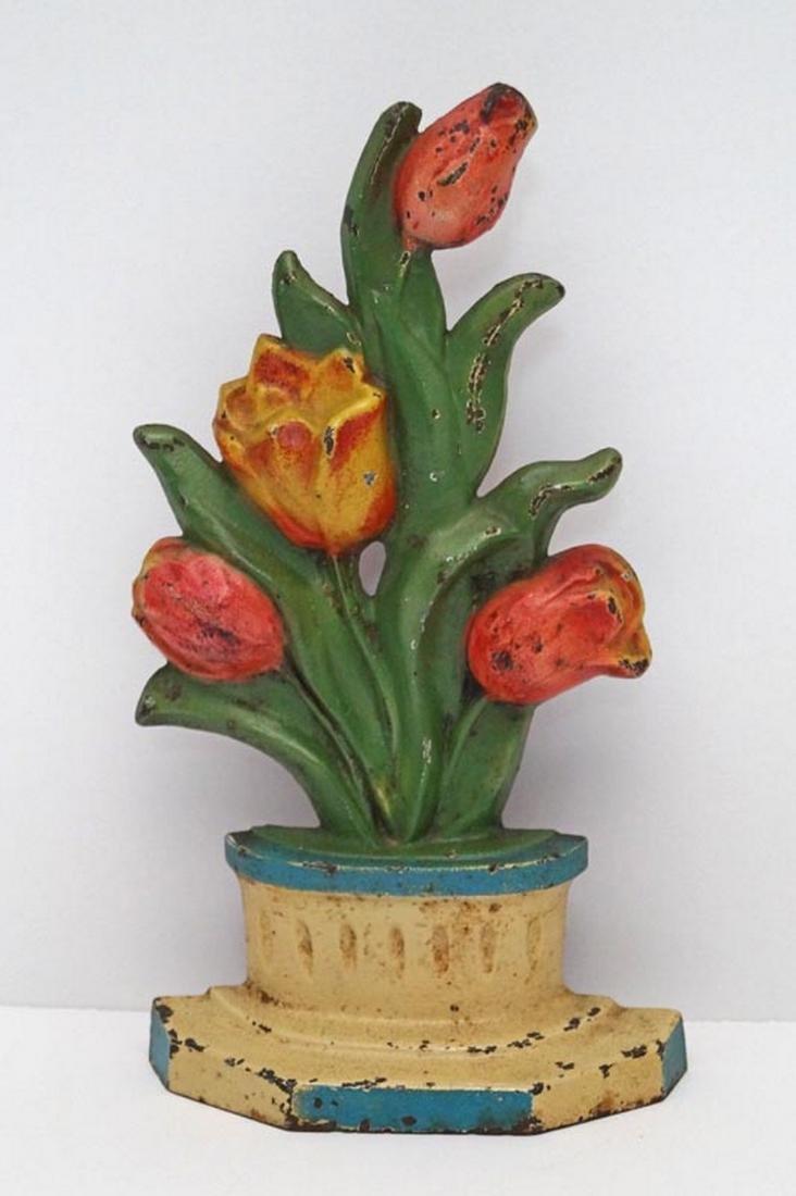 Antique Tulips in Pot Flower Cast Iron Doorstop