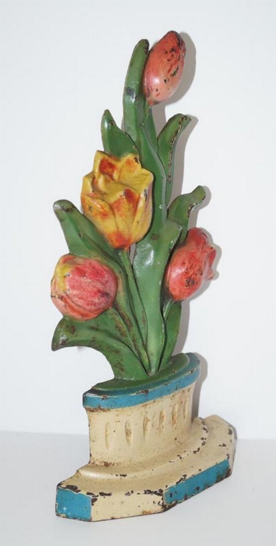 Antique Tulips in Pot Flower Cast Iron Doorstop - 4