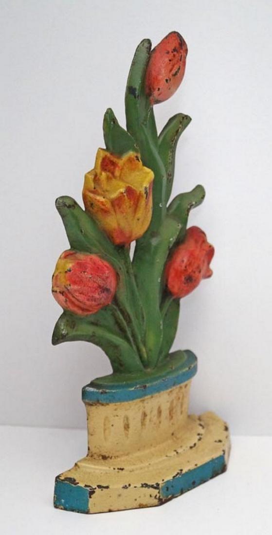 Antique Tulips in Pot Flower Cast Iron Doorstop - 5