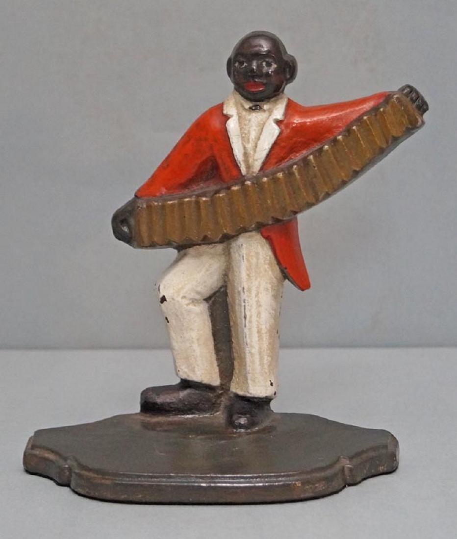 Black Musician, Accordion Player Cast Iron Doorstop