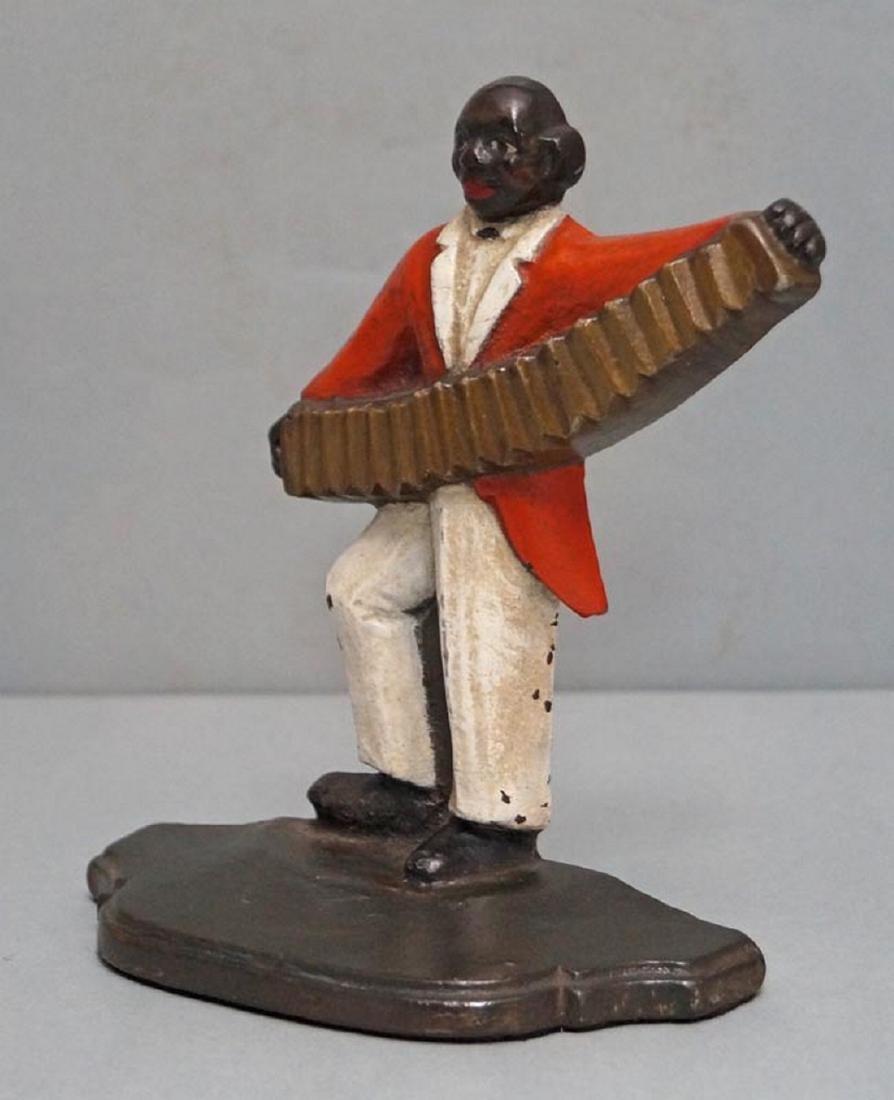 Black Musician, Accordion Player Cast Iron Doorstop - 4