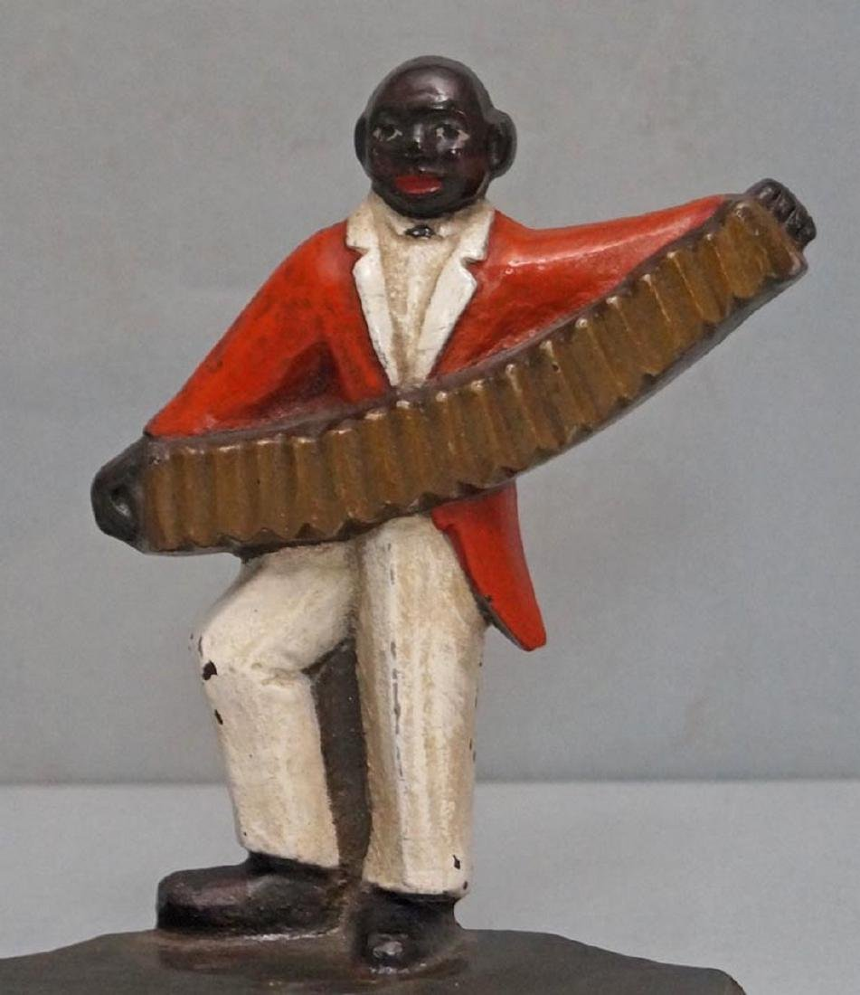 Black Musician, Accordion Player Cast Iron Doorstop - 6
