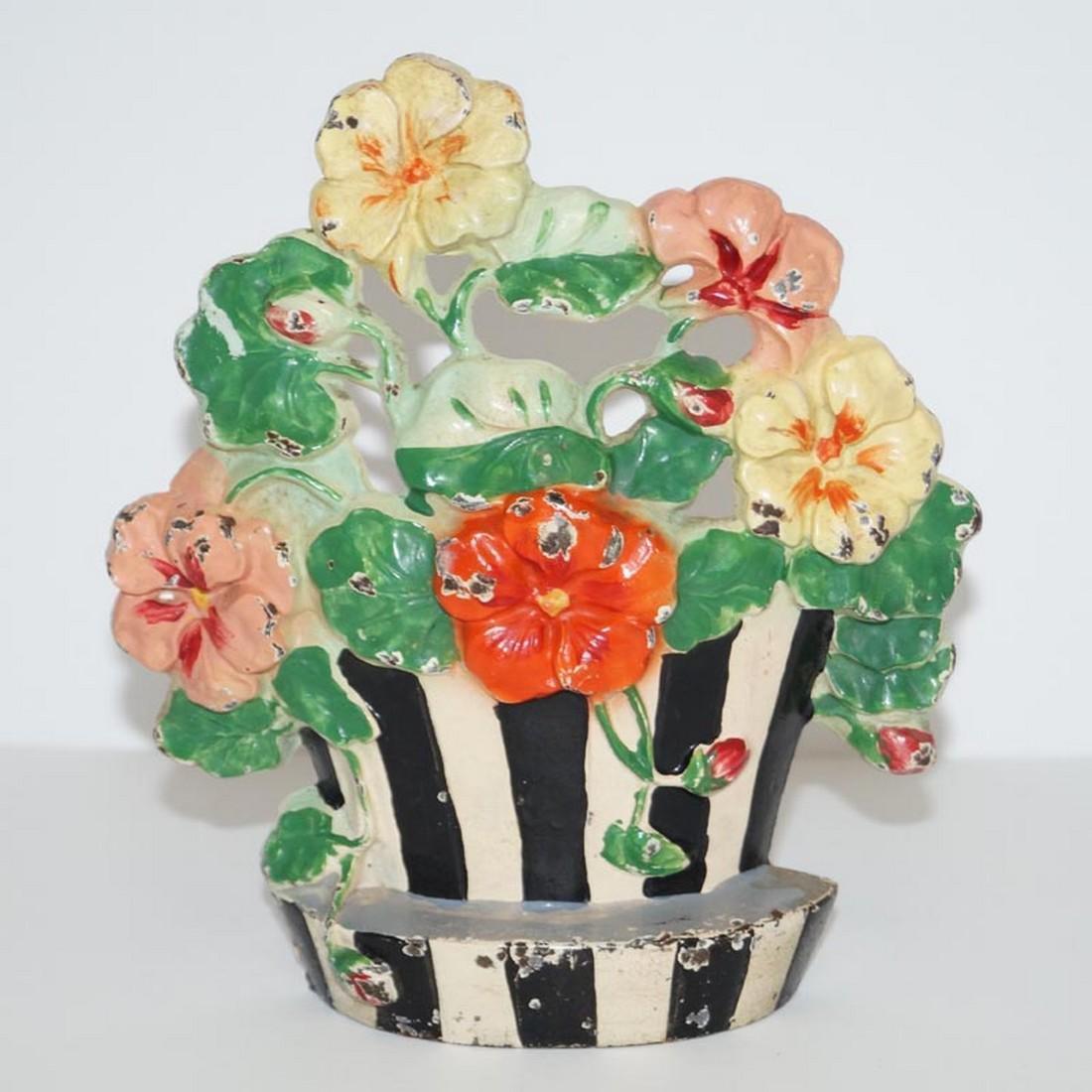 Antique Nasturtiums Flower Cast Iron Hubley Doorstop