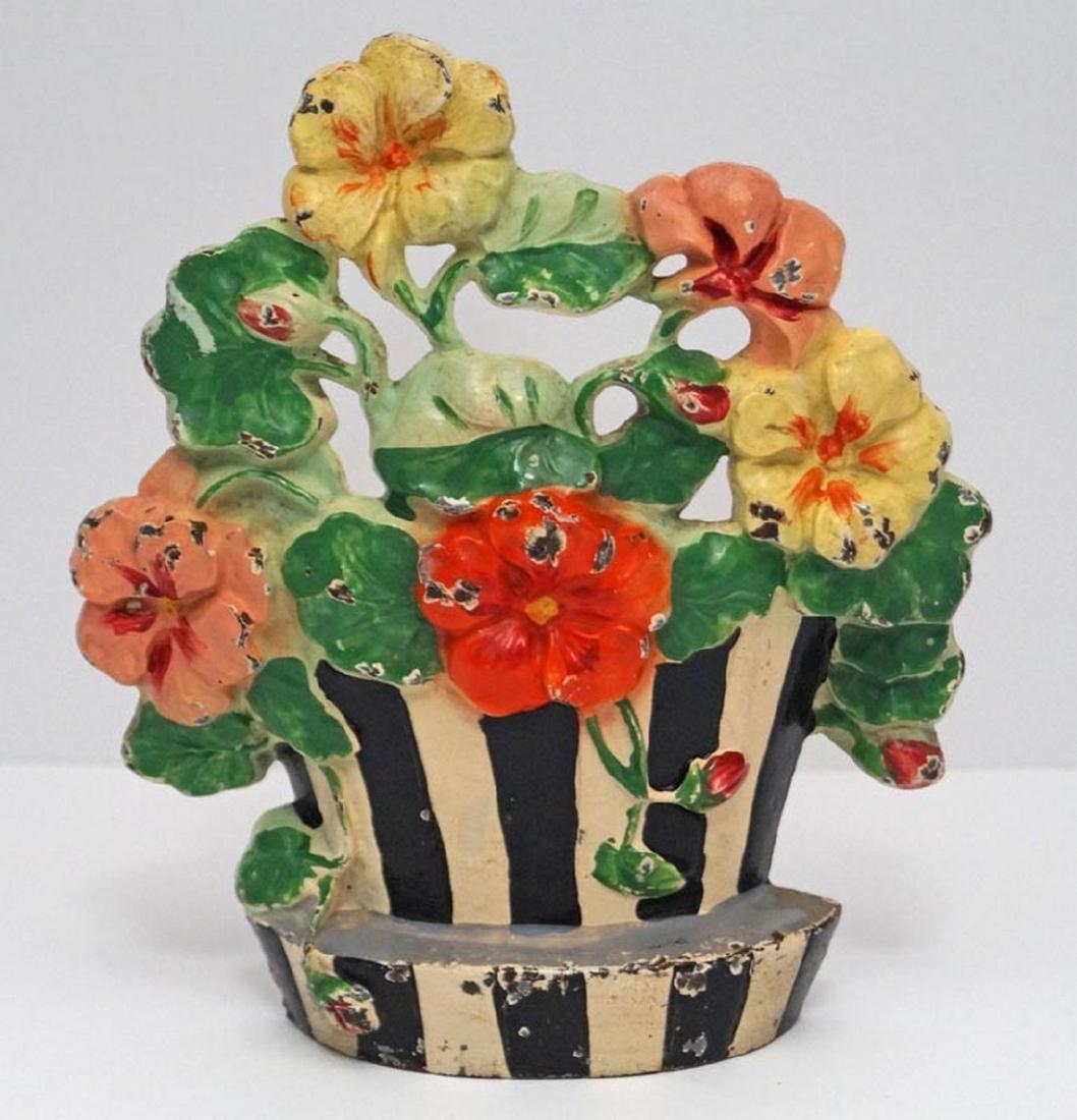 Antique Nasturtiums Flower Cast Iron Hubley Doorstop - 2