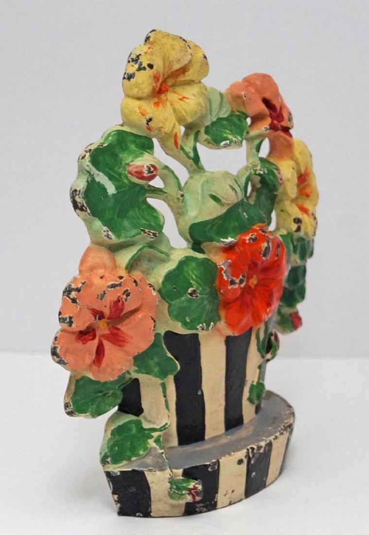 Antique Nasturtiums Flower Cast Iron Hubley Doorstop - 3