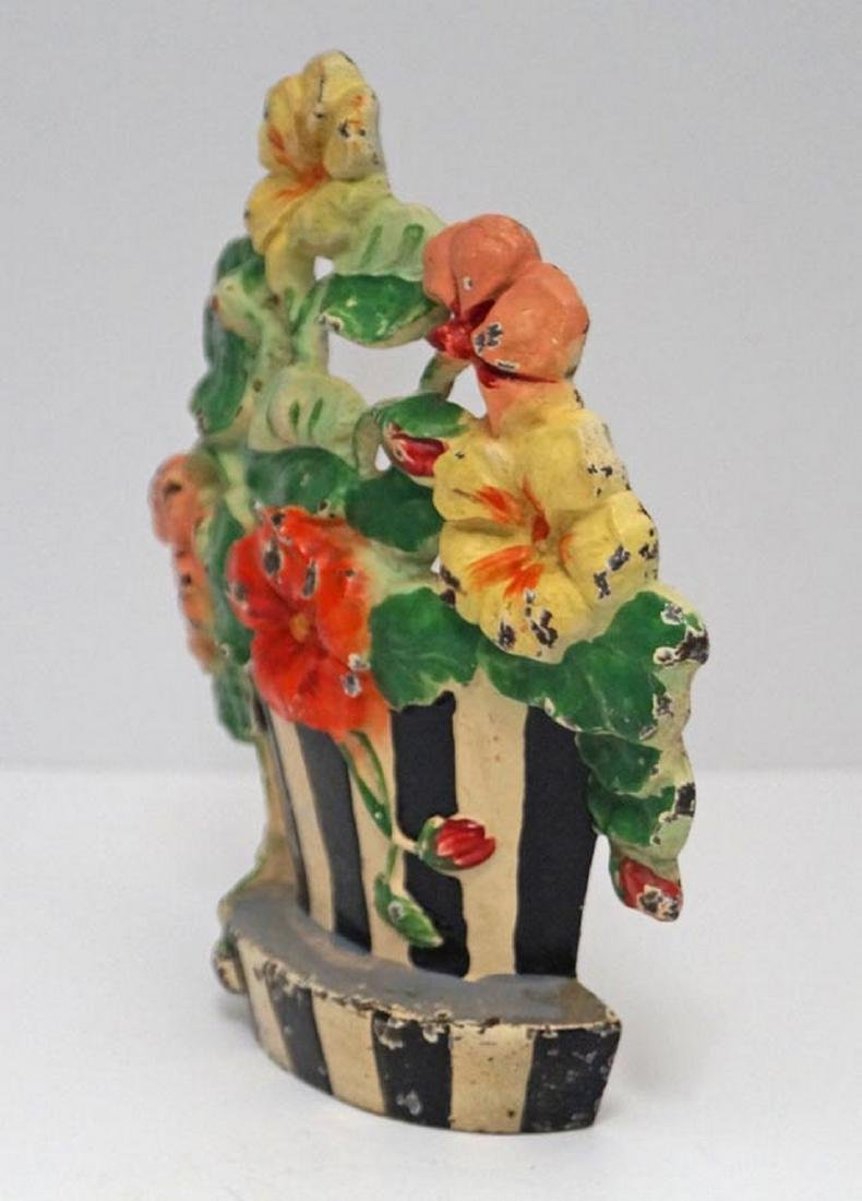 Antique Nasturtiums Flower Cast Iron Hubley Doorstop - 4