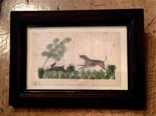 C1820 original watercolor of a dog and rabbit