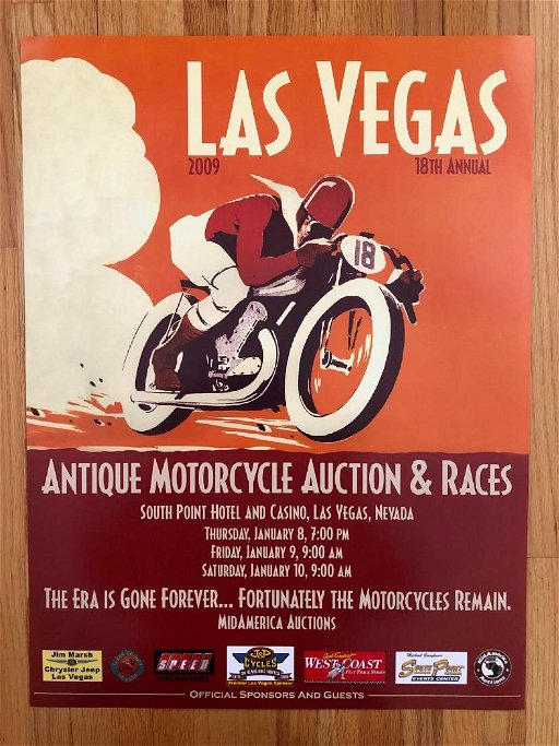 2009 LAS VEGAS ANTIQUE MOTORCYCLE AUCTION & RACE POSTER