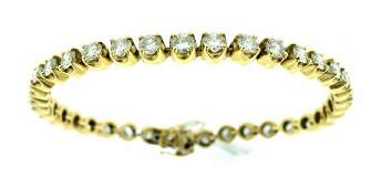 14K YELLOW GOLD DIAMOND TENNIS STRAIGHT LINE BRACELET