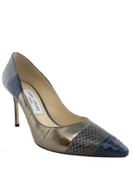 ff8c52453 Jimmy Choo Metallic Leather Snakeskin Pumps Size 7.5