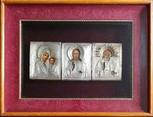 Three(3)Antique 19c 84 Silver Russian icons with Kiot.