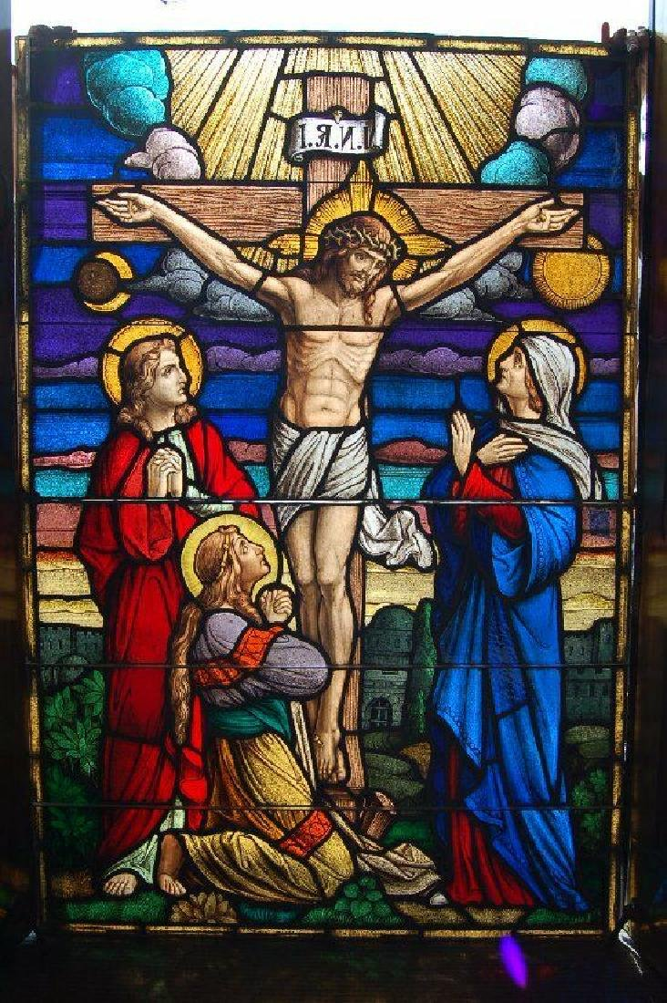"""Beautiful Antique Figural Stained Glass Window: """"The"""