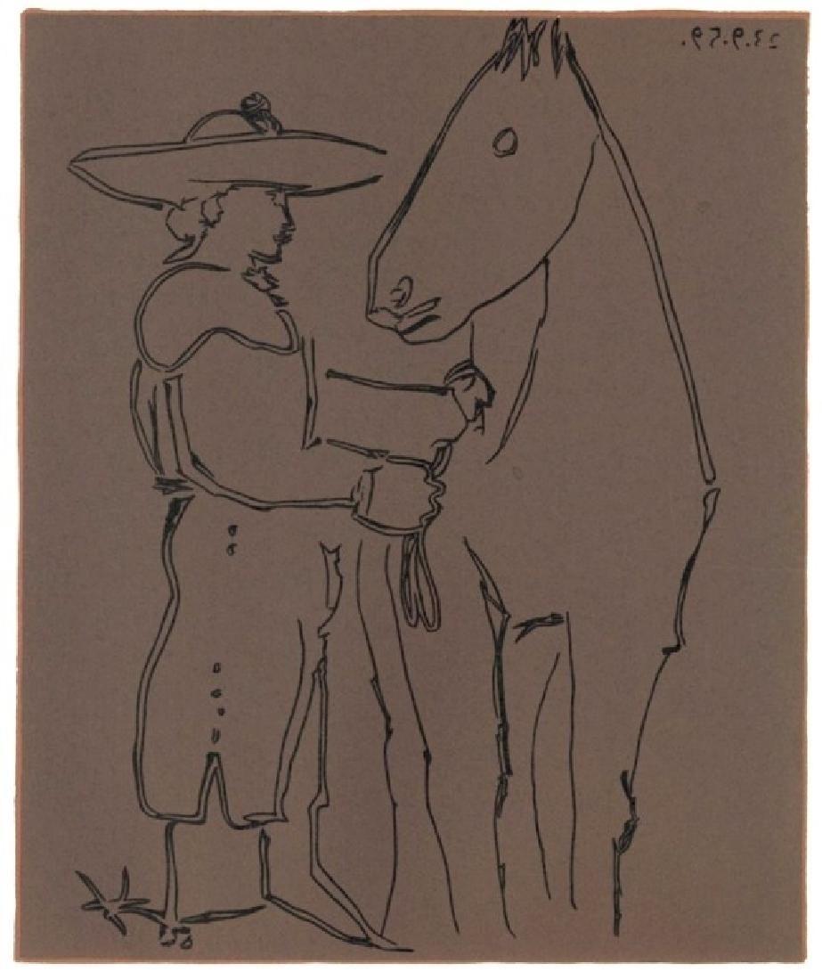 "Pablo Picasso linocut ""Picador and Horse"""