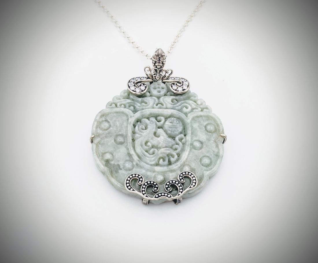 925 SS Necklace & Pendant w Engraved Jade & CZs