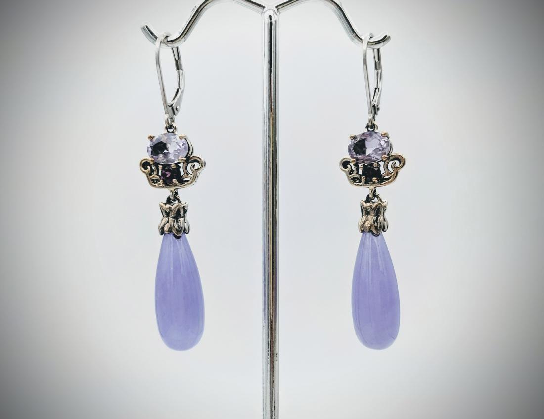 Dangly Violet Jade Earrings w Pink & Purple Amethyst