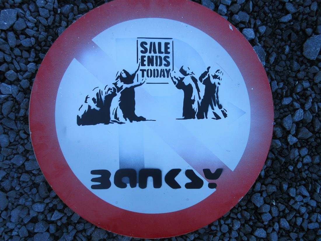 After Banksy Sale Ends Today spray paint tagged