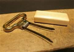 Two Prong Cork Puller Corkscrew Wine Opener w Wood