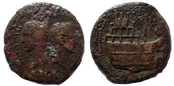 Gaul. Vienna. Octavian, with Divus Julius Caesar 36 BC.