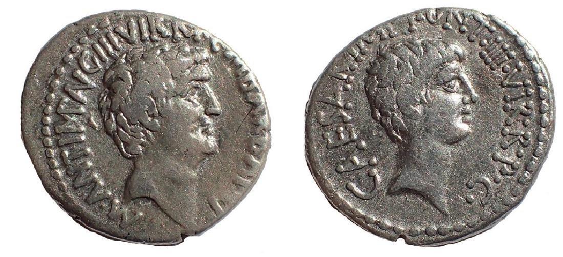 Marc Antony and Octavian AR Denarius. Military mint