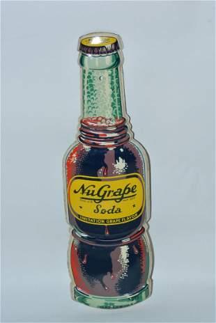 Nu-Grape Soda Bottle-Shaped painted sign