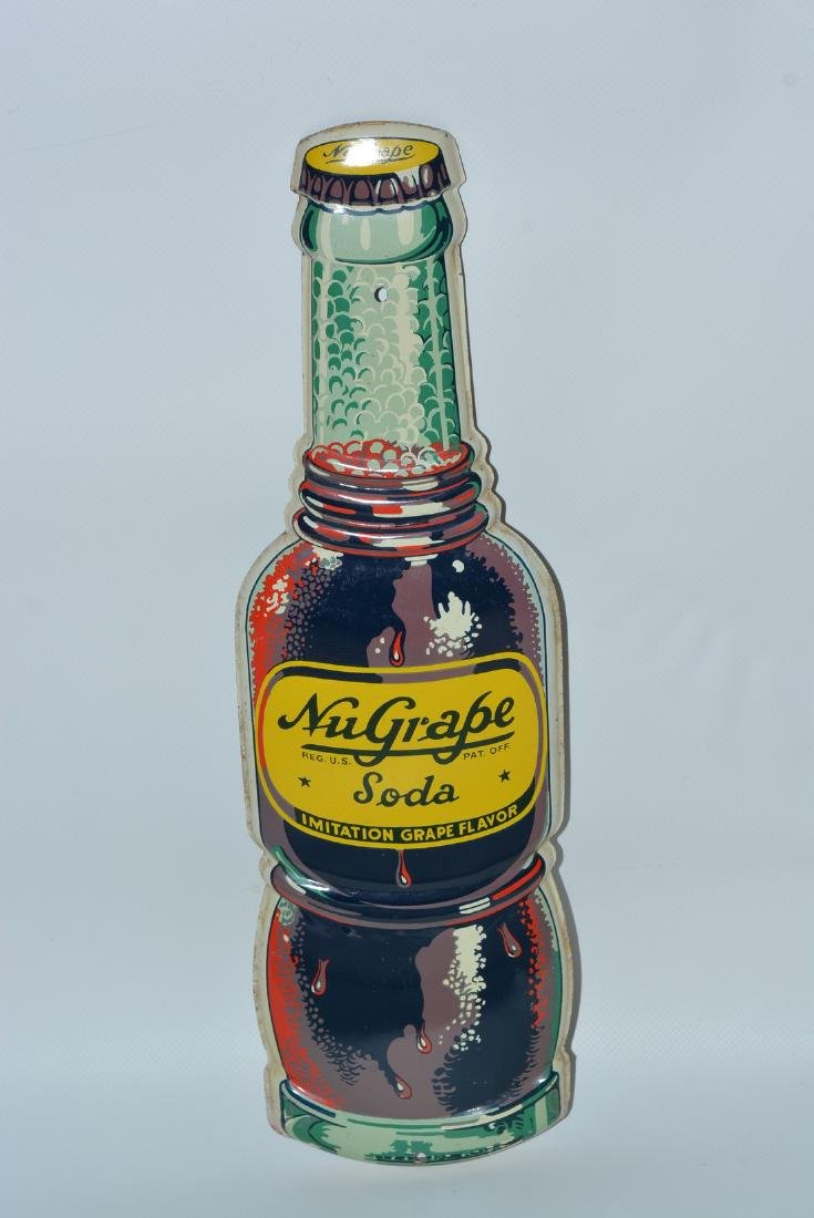 Nu-Grape Soda Bottle-Shaped painted sign
