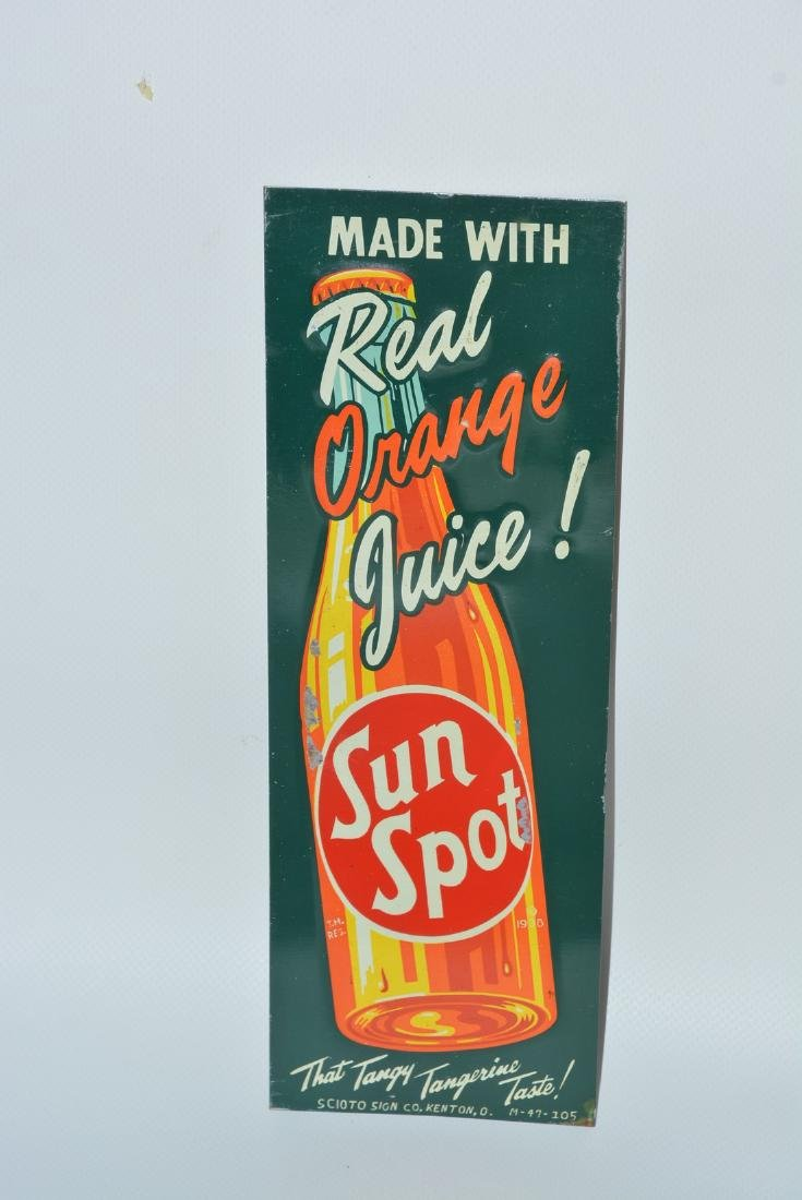 """Sun Spot """"Made with Real Orange Juice!"""" painted sign"""