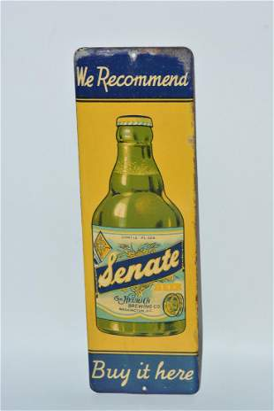 """We Recommend Senate Beer """"Buy it here"""" painted sign"""