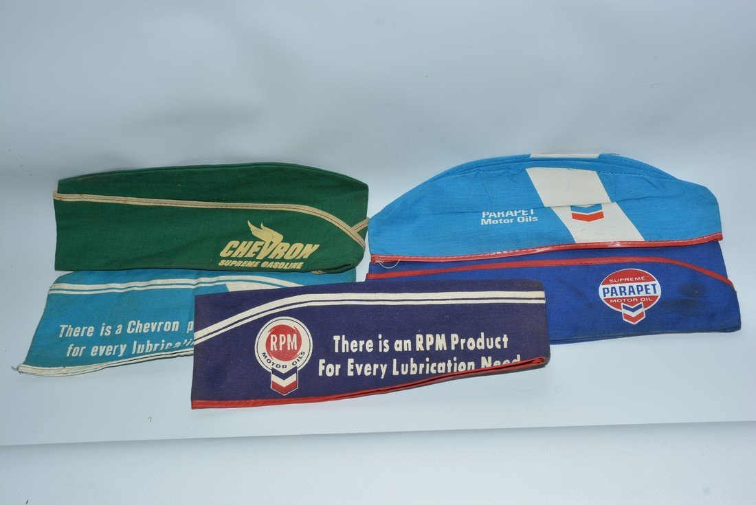 5-Chevron Gasoline Service Station Attendants Hats