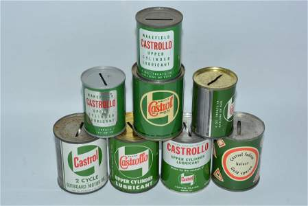 8-Different Castrol Motor Oil Metal Can Banks