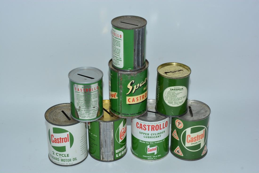 8-Different Castrol Motor Oil Metal Can Banks - 2