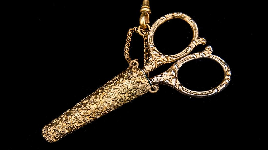 Antique English Gold Gilt Victorian Chatelaine. - 5