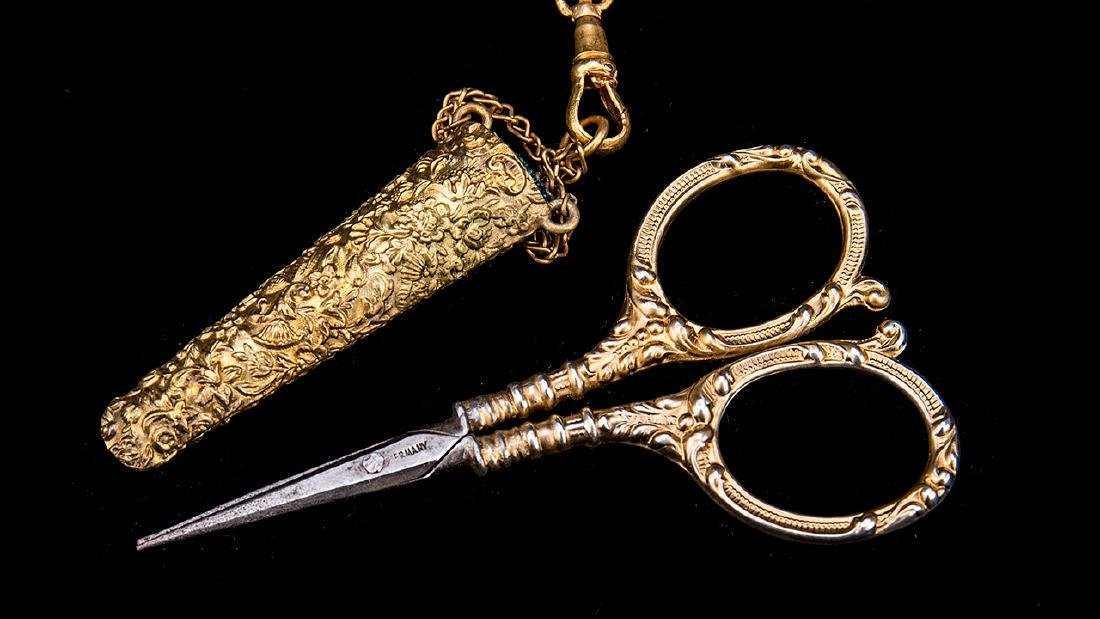 Antique English Gold Gilt Victorian Chatelaine. - 6